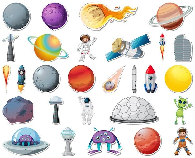 Set di adesivi con oggetti del sistema solare isolati