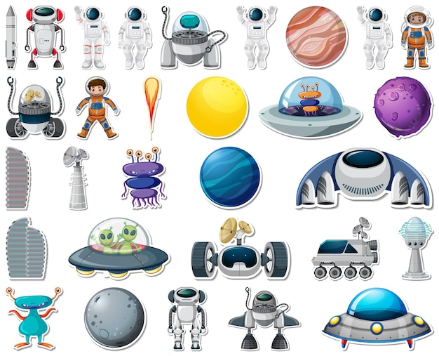 Set of stickers with solar system objects isolated