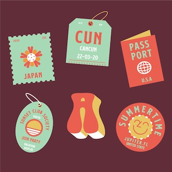 Set of stickers with summer memories