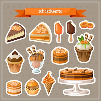 Set of stickers with sweets, cakes, ice cream and cupcakes