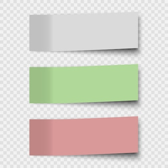 Set of sticky notes or office paper sheets