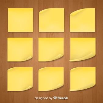 Set of sticky notes in realistic style