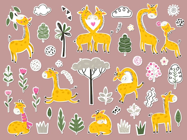 Set of stikers with cute giraffes and items.
