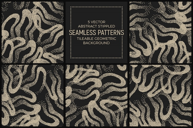 Set of stippled seamless patterns