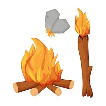 석기 시대 모닥불 횃불을 설정하고 흰색으로 격리된 불을 위해 돌을 날카롭게
