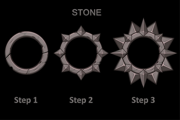 Set of stone frames app with spikes in 3 steps to progress. round frames in the drawing step by step.
