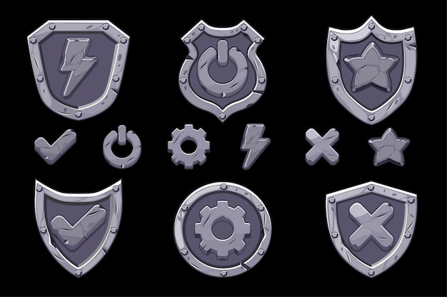 Set of stone menu shields icons for the game. isolated icons of options, settings, energy for the interface.