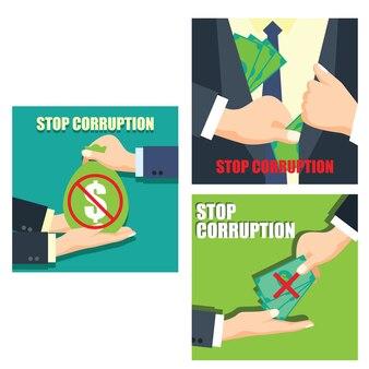 Set of stop corruption concept businessman hand refusing corruption money