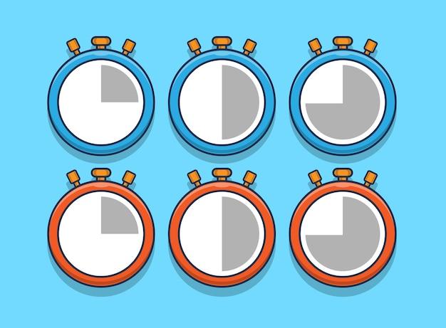 Set of stopwatch icons illustration