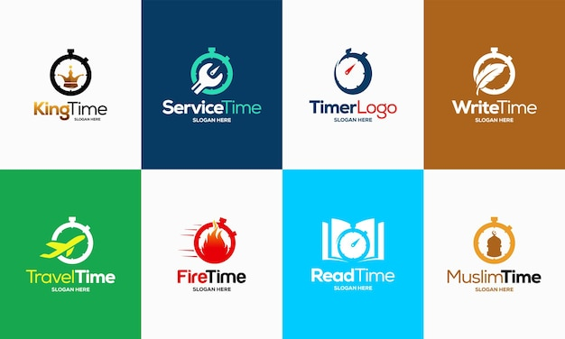 Set of stopwatch timer logo designs concept template vector, timer logo symbol icon template vector