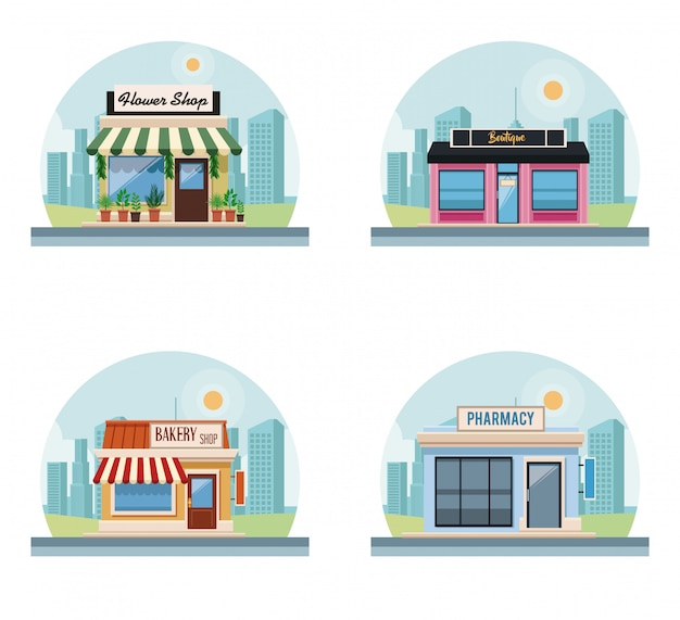 Set of stores buildings