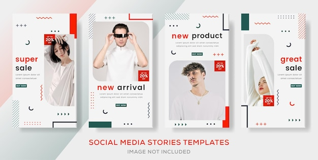 Set stories banner template post geomatric for fashion sale premium