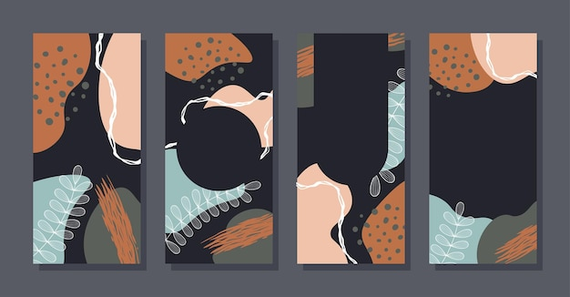 Set stories colorful memphis modern abstract shapes black pastel backgrounds vector