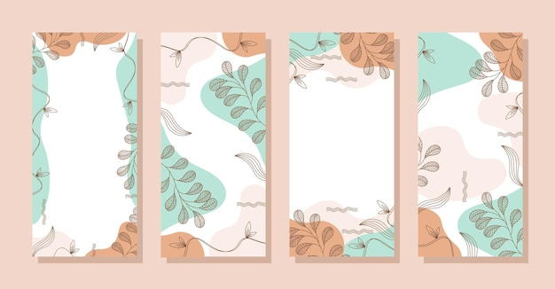 Set stories colorful memphis modern abstract shapes blue orange pastel with leaf backgrounds vector