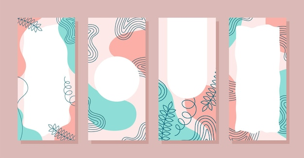 Set stories colorful memphis modern abstract shapes blue pink pastel with leaf backgrounds vector