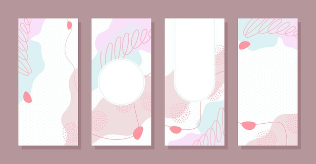 Set stories colorful memphis modern abstract shapes cute pink with hexagon backgrounds vector