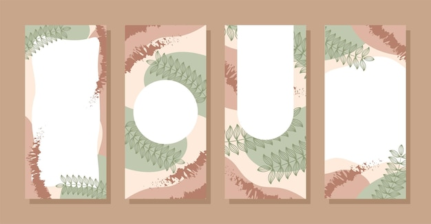 Set stories colorful memphis modern abstract shapes green brown pastel with leaf backgrounds vector