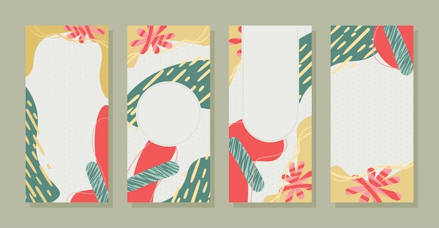 Set stories colorful memphis modern abstract shapes pastel with polka dots backgrounds vector