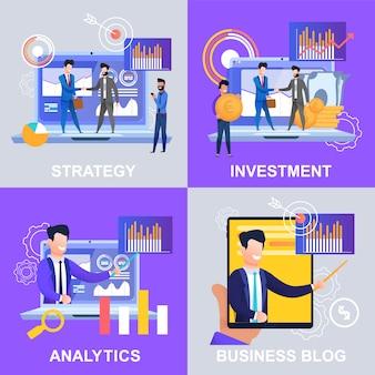 Set strategy analytics investment business blog. illustration