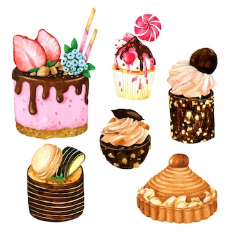 Set of strawberry and chocolate cake in watercolor