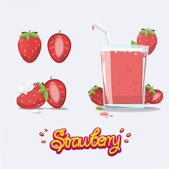 Set of strawberry. juice. smoothie. whipped cream.