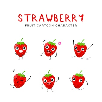 A set of strawberry mascot. vector illustration