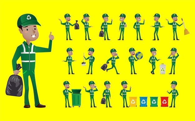 Set of street cleaner with different poses