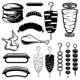 Set of street food  elements. burger, hot dog, kebab, chicken wings, barbecue. design element for logo, label,emblem, sign.  illustration