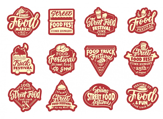 Set of street food stickers, patches. red badges, emblems, stamps for club  .