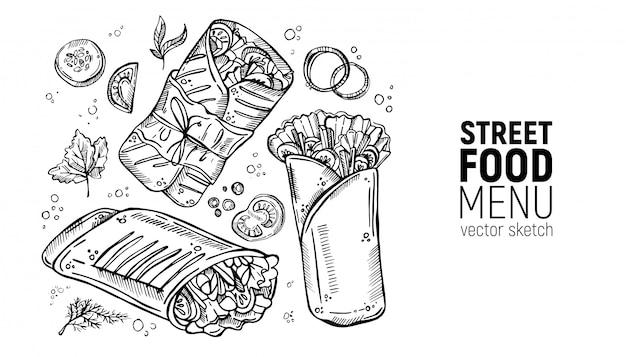 Set of street food