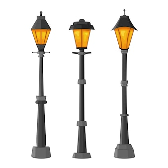 Set of street lamps on white