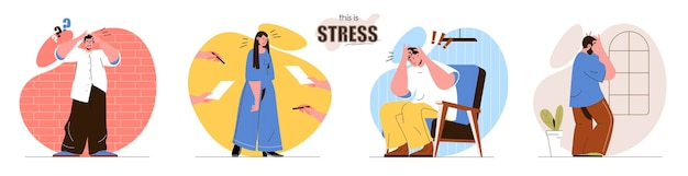 Set stress flat design concept illustration of people characters