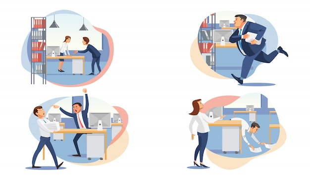 Set of stressed business people flat vectors