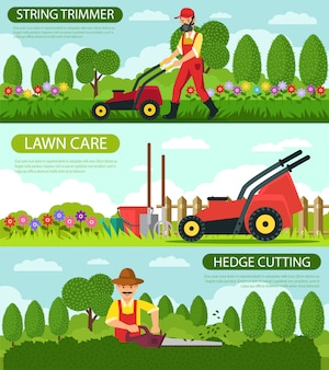Set string trimmer and hedge cutting lawn care.