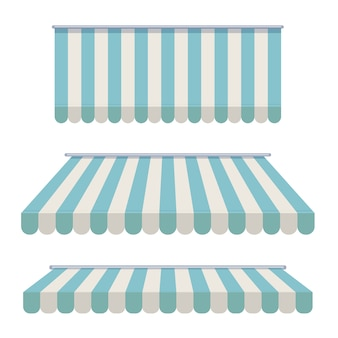A set of striped awnings