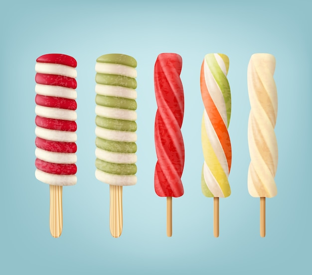 Set of striped lollipop ice creams