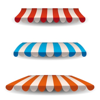 A set of striped red, blue, orange white awnings, canopies for the store. awning for the cafes and street restaurants.