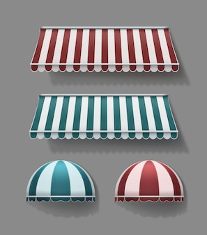 Set of striped retractable horizontal and rounded awnings in red and turquoise with white colors on gray background