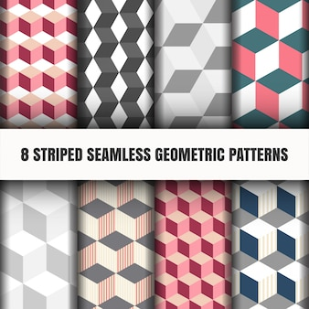 Set of striped seamless geometric pattern