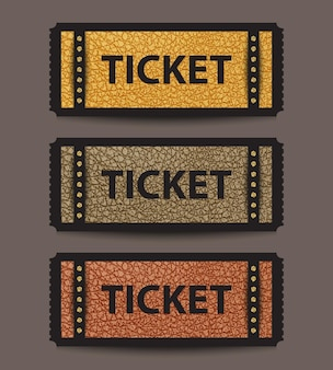 Set of stub ticket templates with golden sequin elements and leather in yellow, grey and brown colors.