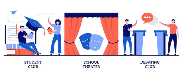 Set of student club, school theater, debating competition, after-school activity