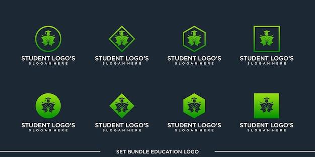 Set student logo design vector bundle premium
