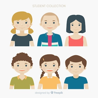 Set of students in flat design