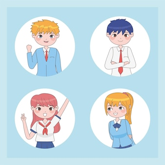 Set of students in manga style in white circles