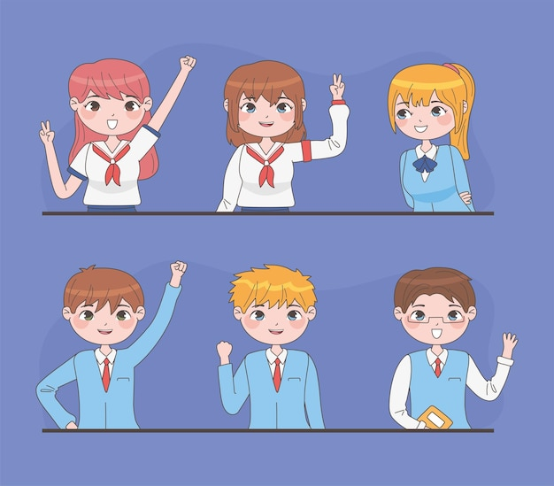 Set of students in manga style