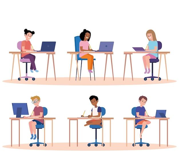 Set of students online