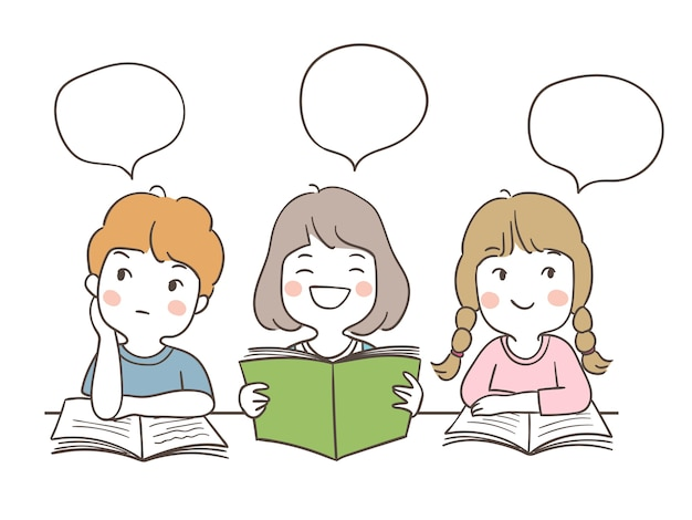 Set students reading and speech bubble for school