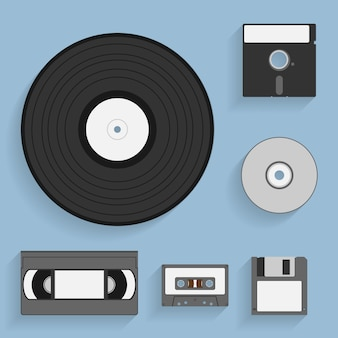 Set of  style icons of vintage data carriers