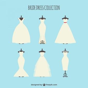 Set of stylish bride dress