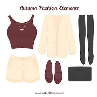Set of stylish clothing in warm colors